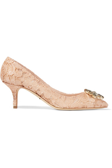 Dolce & Gabbana - Crystal-embellished Corded Lace And Mesh Pumps - Blush at NET-A-PORTER