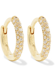 Huggie 18-karat gold diamond hoop earrings