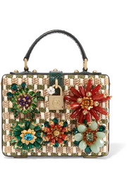 Embellished python, woven raffia and cotton shoulder bag