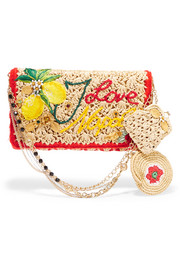 Embellished embroidered crocheted raffia clutch