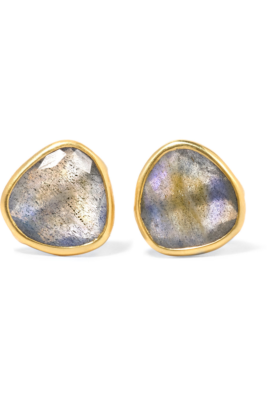 Pippa Small 18-Karat Gold Labradorite Earrings, Gold/Gray, Women's