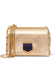 Lockett small metallic textured-leather shoulder bag
