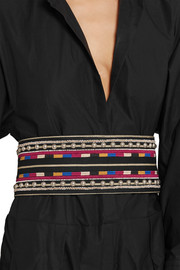 Isabel Marant Embellished embroidered cotton and leather belt