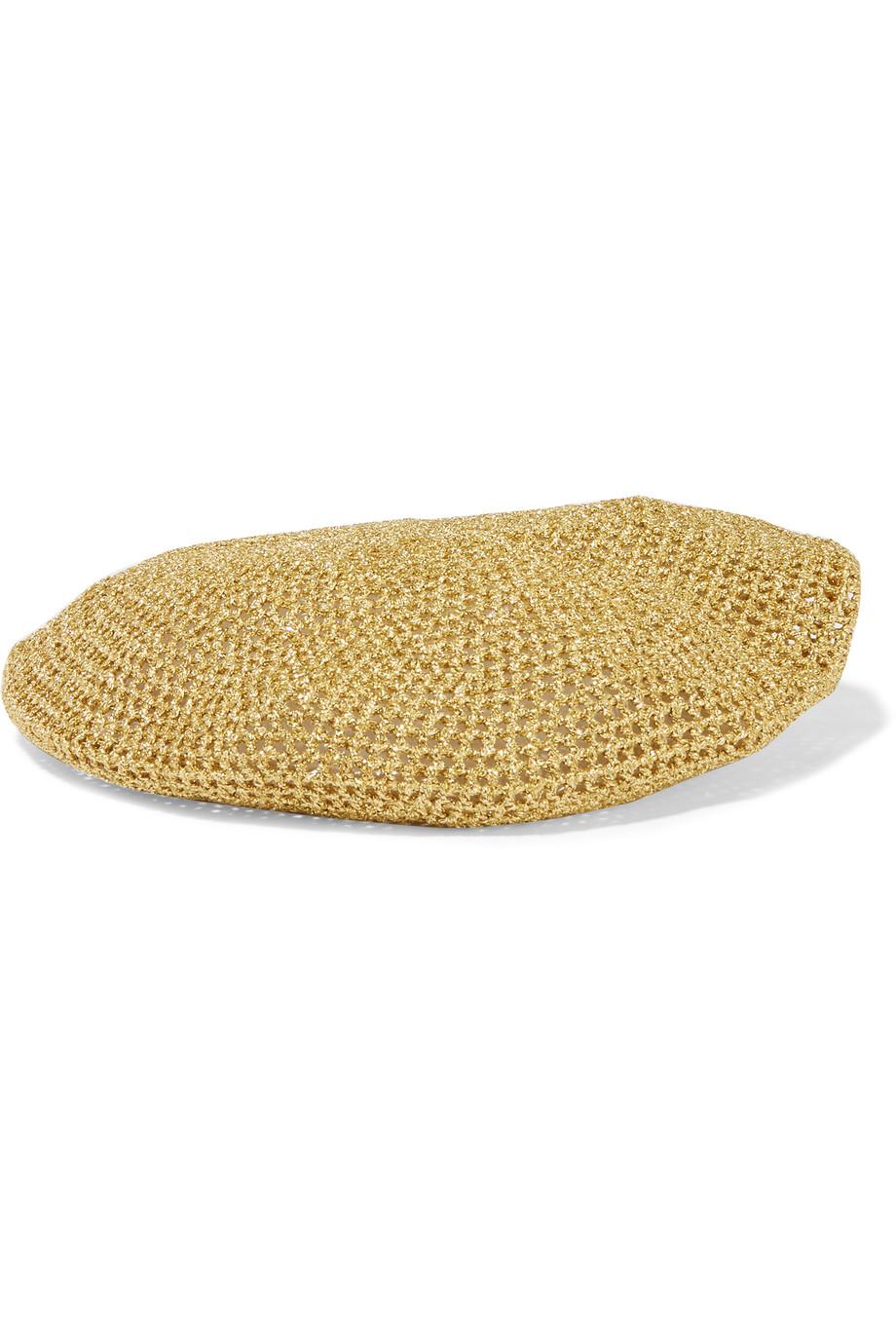 Gucci Thelma Metallic Crochet-Knit Beret