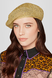 Thelma metallic crochet-knit beret