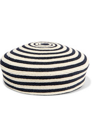 Striped woven hemp and cotton-blend beret