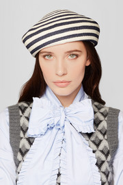 Gucci Striped woven hemp and cotton-blend beret