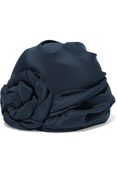gucci female 236621 gucci knotted silk turban navy