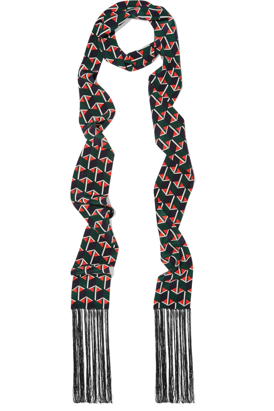 Gucci Fringed Printed Silk Scarf, Emerald/Red, Women's