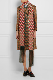 Gucci Minishutter fringed printed silk crepe de chine scarf