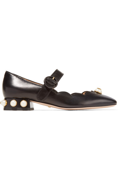 fa318a6ce36 Gucci - Embellished Leather Mary Jane Pumps - Black