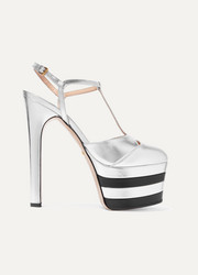 Metallic leather platform pumps