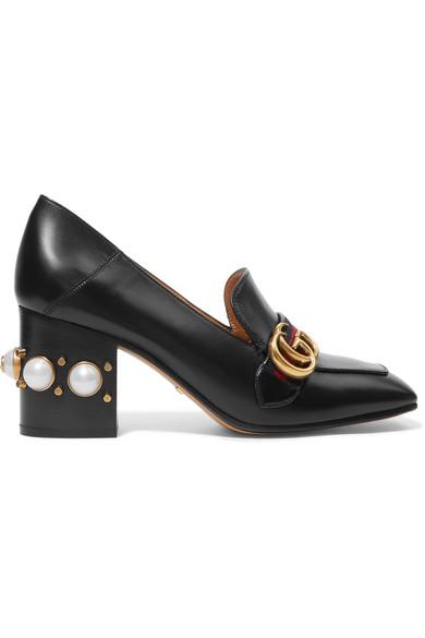 Gucci - Embellished Leather Pumps - Black