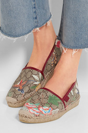 Gucci Tian leather-trimmed printed coated canvas espadrilles