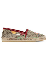 Tian leather-trimmed printed coated canvas espadrilles