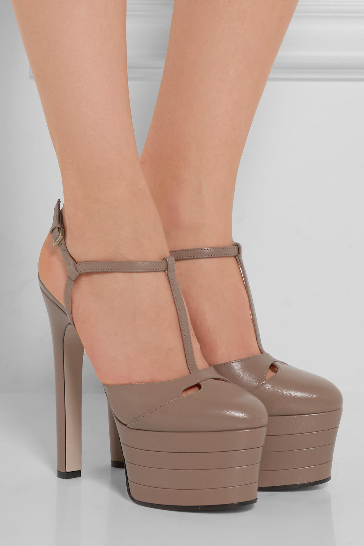 Taupe Leather platform pumps   Gucci