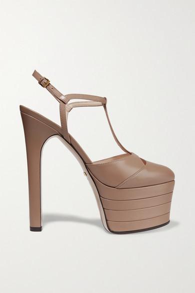 Gucci - Leather Platform Pumps - Taupe
