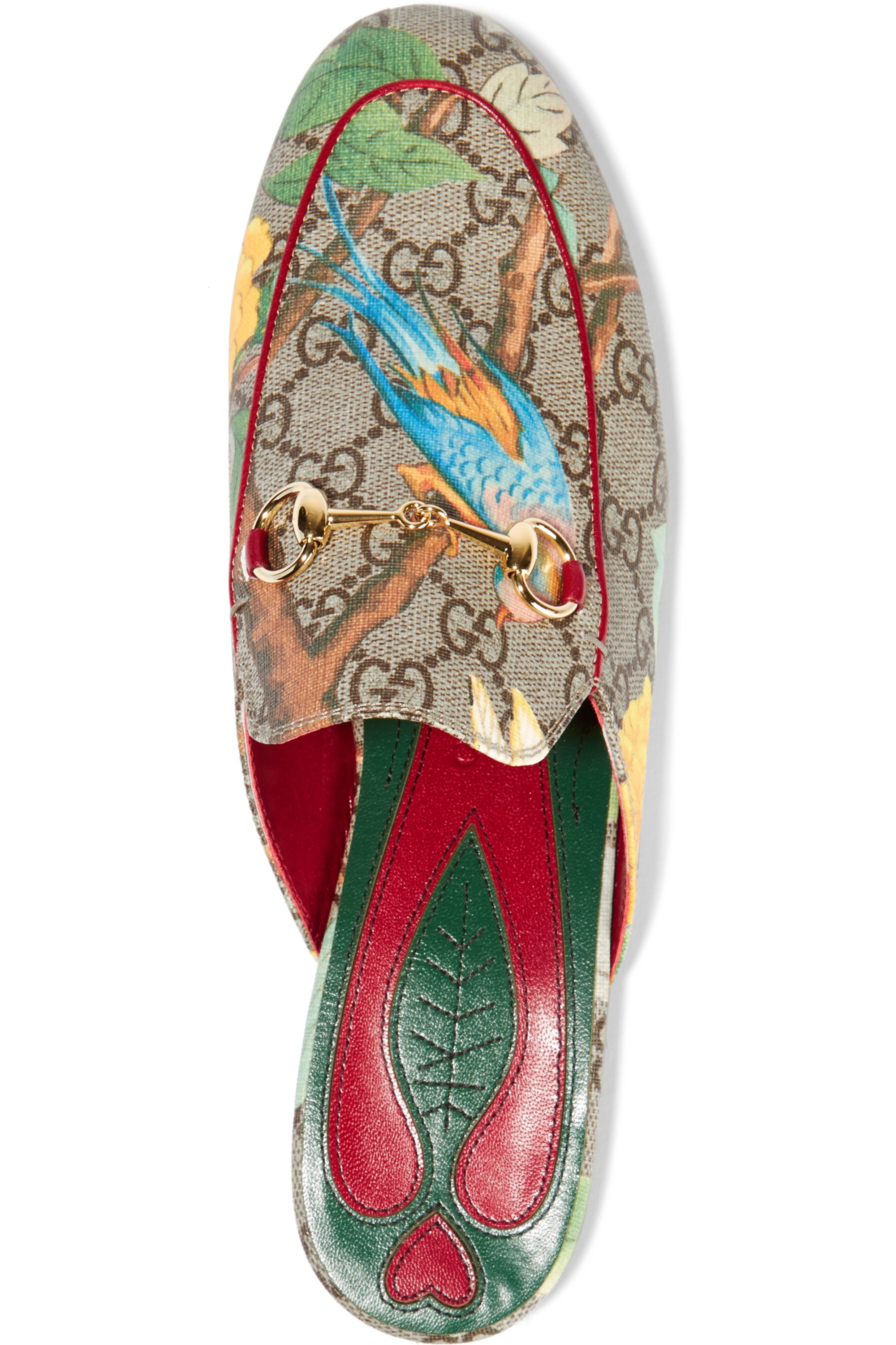 Gucci Tian Princetown horsebit-detailed printed coated canvas slippers
