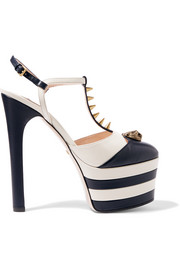 Striped leather platform pumps