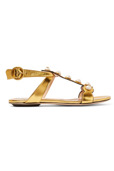 Gucci - Embellished Metallic Leather Sandals - Gold