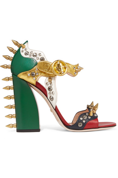 Gucci - Embellished Metallic Leather Sandals - Green