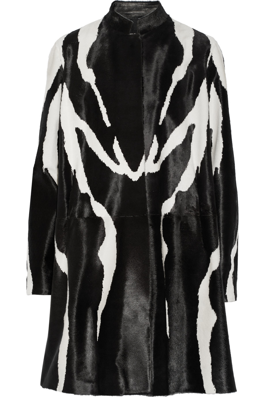 Zebra-Print Calf Hair Coat, Black/Zebra Print, Women's, Size: 38
