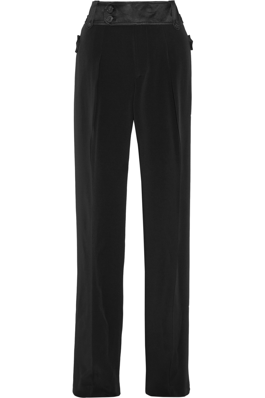 Pleated Twill-Trimmed Cady Wide-Leg Pants, Black, Women's, Size: 44
