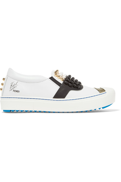 0bf1677386f1 Fendi   Karlito studded leather slip-on sneakers   NET-A-PORTER.COM