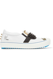 Fendi Karlito studded leather slip-on sneakers