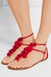 Pompom-embellished raffia sandals
