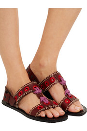Embroidered leather sandals