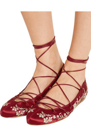Lace-up embroidered satin ballet flats