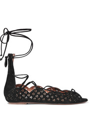 Carine laser-cut suede sandals