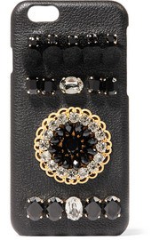 Embellished textured-leather iPhone 6 case