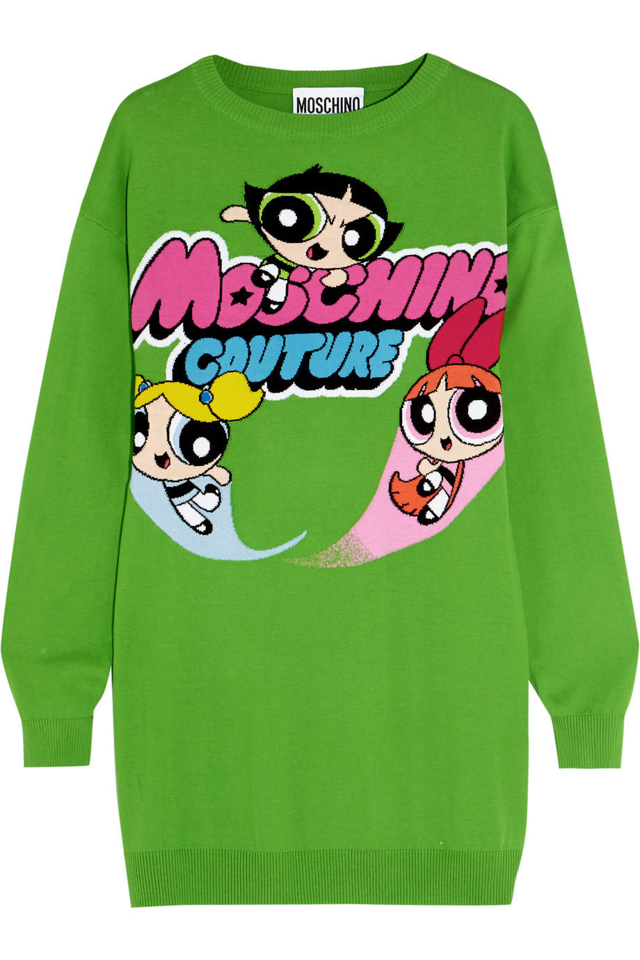Moschino Intarsia Cotton Sweater Dress, Green, Women's, Size: XL