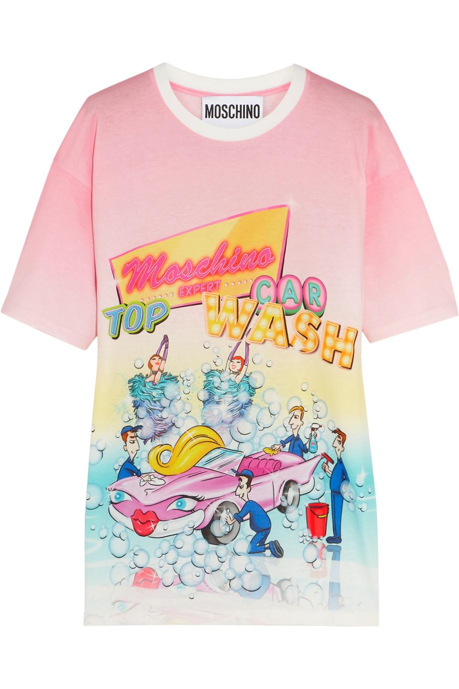 Moschino Printed Cotton-Jersey T-Shirt, Baby Pink, Women's, Size: XS