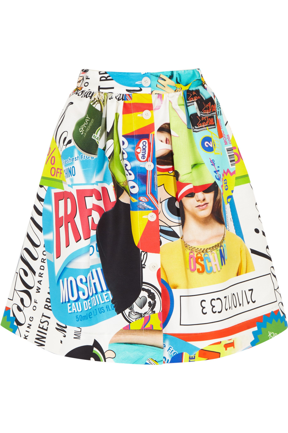 Moschino Printed Cotton-Blend Faille Skirt, Blue, Women's, Size: 44