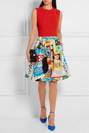 Moschino Printed cotton-blend faille skirt