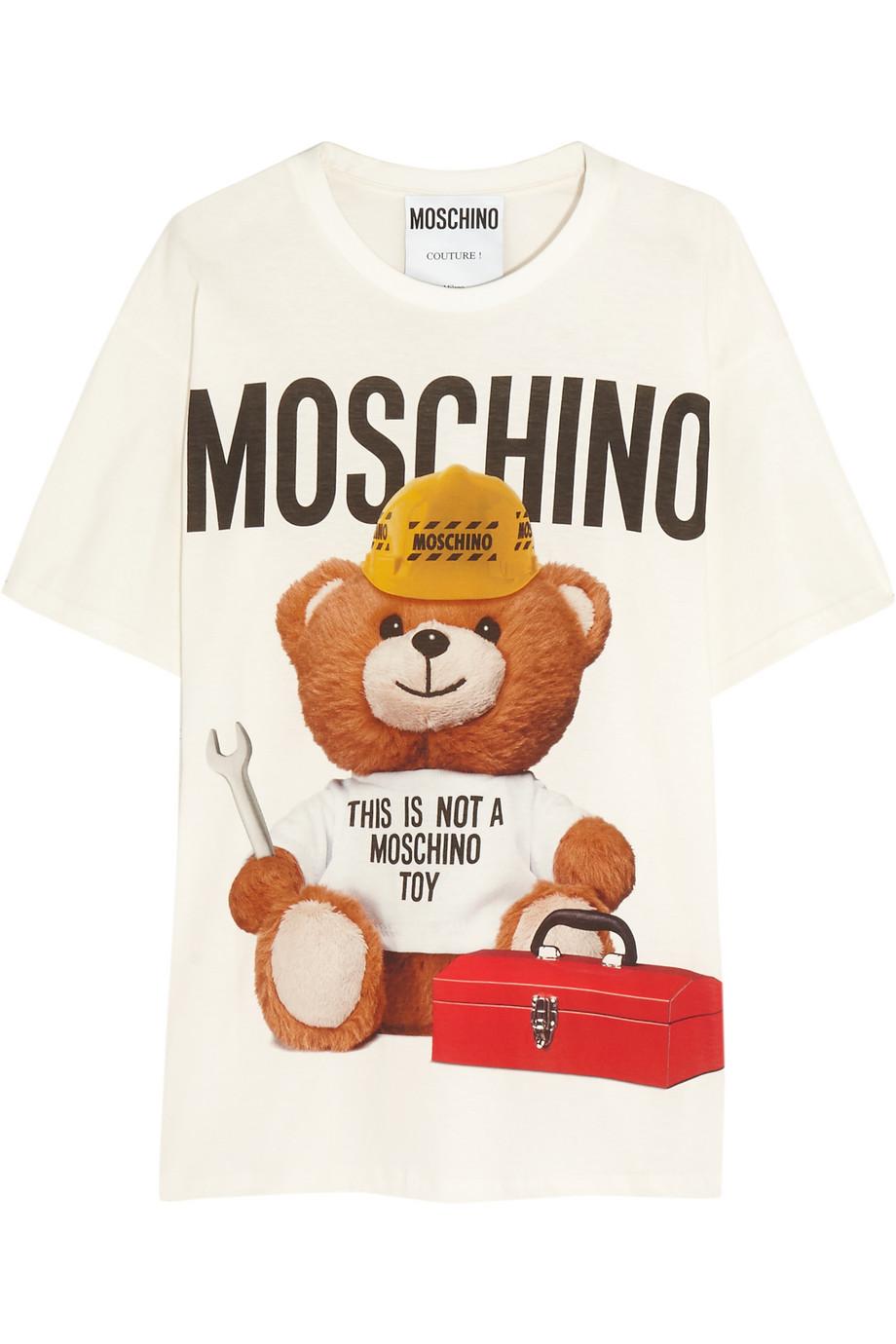 Moschino Oversized Printed Cotton-Jersey T-Shirt, White, Women's, Size: L