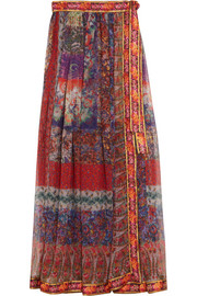 Embroidered printed silk-chiffon wrap maxi skirt
