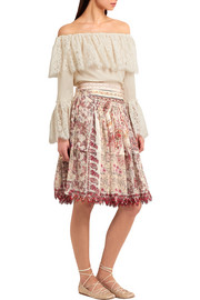 Embellished printed cotton and silk-blend skirt