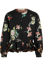 Reversible embellished floral-print cotton jacket