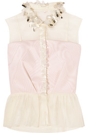 DELPOZO Embellished cotton-organza and silk-faille peplum top