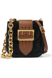 Buckle-embellished suede and textured-leather shoulder bag