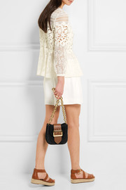 Burberry Prorsum Buckle-embellished suede and textured-leather shoulder bag