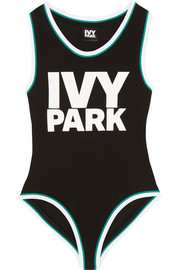 IVY PARK Printed stretch cotton-blend jersey leotard