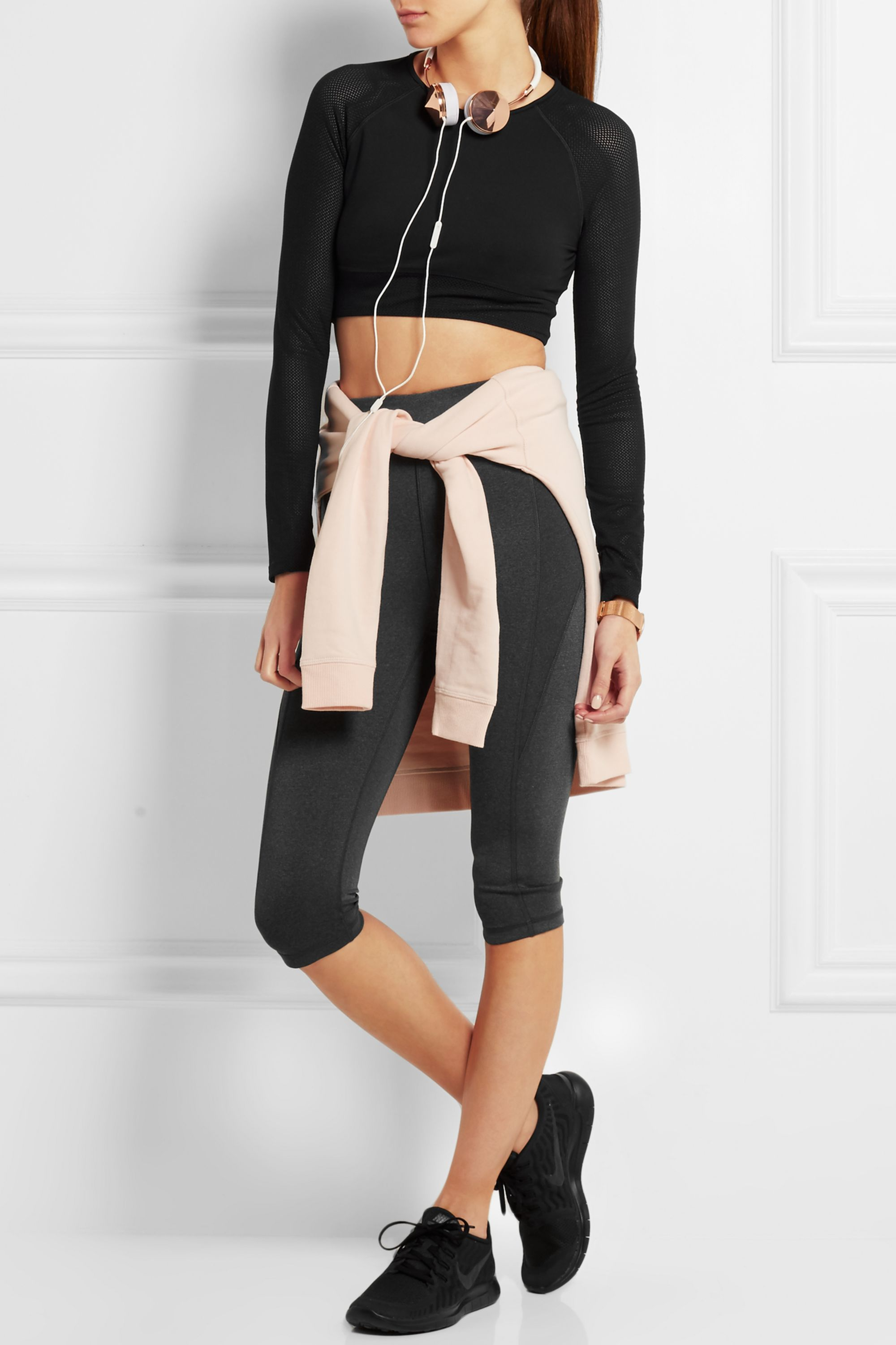 IVY PARK Cropped stretch-jersey and mesh top