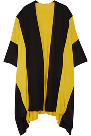Striped wool and silk-blend cape