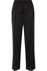 Crepe-trimmed silk-blend wide-leg pants