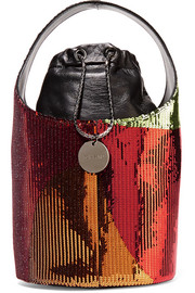 Miranda mini sequined leather bucket bag